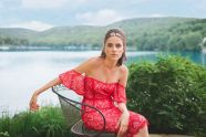 Red lace off-the-shoulder dress