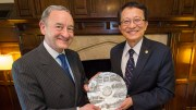 Washington University has become a more global institution during Chancellor Wrighton's tenure. Here he poses in China with Frank Chang, president of National Chiao Tung University, which became a partner of the McDonnell International Scholars Academy in 2017.