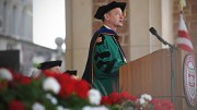 Presiding over Commencement in Brookings Quadrangle, as he did here in 2017 for the 23rd time, is one of the joys of being Chancellor.