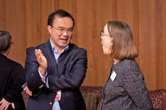 Steve Lim, BS '89, MBA '87, chats with Kathy Steiner-Lang, assistant vice chancellor and director of the Office for International Students and Scholars, during the WashU Asian Alumni Network kick-off reception held in April. This new network advocates for issues important to the Asian and Asian-American WashU community. (Photo: Jerry Naunheim)