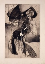 "Stanley William Hayter, ""Amazon,"" 1945. Engraving and etching, edition of 50, 30 x 22 1/8"". Mildred Lane Kemper Art Museum, Washington University in St. Louis. University purchase, Kende Sale Fund, 1946."