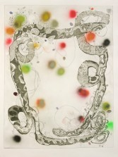 """Lisa Sanditz, """"Space Invader,"""" 2015. Etching (sugar lift and aquatint), archival pigment print collage, spray paint and embossment, 51""""x40"""". Courtesy of Island Press."""