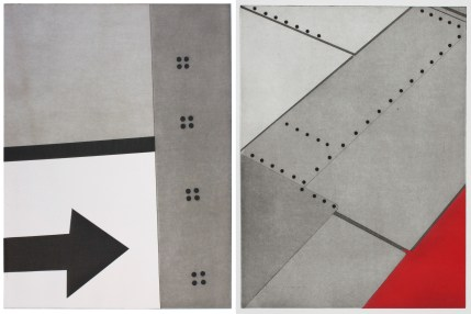 "Two works by Nina Katchadourian. From left: ""Window Seat Suprematism 4"" and ""Window Seat Suprematism 2,"" both 2014. Series all 16"" x 13"" paper size, 14"" x 11"" plate size, etching and aquatint. Courtesy of Island Press."