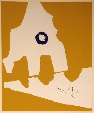 """Robert Motherwell, """"Untitled,"""" from the portfolio """"X + X (Ten Works by Ten Painters,"""" 1964. Screen print with collage elements, 24 x 20"""". Mildred Lane Kemper Art Museum, Washington University in St. Louis. University acquisition, 1970."""