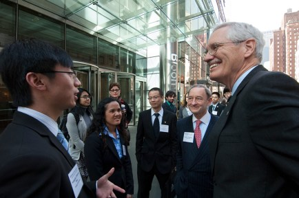 Wertsch and Chancellor Mark S. Wrighton attend a meeting in New York City with the McDonnell International Scholars Academy in 2012. (Photo: Joe Angeles/Washington University)