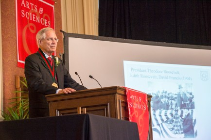 Wertsch speaks at the ceremony installing him as David R. Francis Distinguished Professor in 2016.
