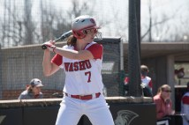 The Bears softball team split a doubleheader against the University of Chicago on March 30 at Lindenwood University, losing the first game 10-5 and winning the second 9-0. (Photo: Mary Butkus/Washington University)