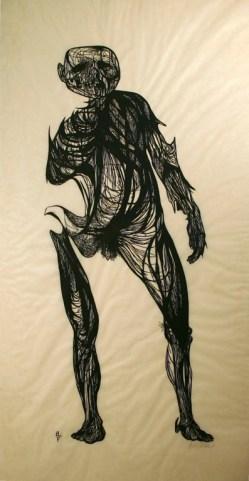 "Leonard Baskin (American, 1922–2000), Hydrogen Man, 1954. Woodcut, 75 x 37 13/16"". Mildred Lane Kemper Art Museum, Washington University in St. Louis. Gift of Arthur and Sheila Prensky, 1984."