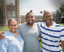 Solomon Brown (­center), AB '14, who earned his JD in 2017, attended anniversary events with his mother, Debra Knight Brown, and father, Homer Brown. (Sid Hastings/WUSTL Photo)