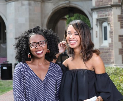 Celebrating the Ervin Scholars Program's 30th anniversary, alumni and current scholars — such as juniors Le'Aysha Pearson (left) and Tyler James — participated in an Assembly Series panel discussion, a picnic in the Quad, a recognition dinner and more. (Joe Angeles/WUSTL Photo)