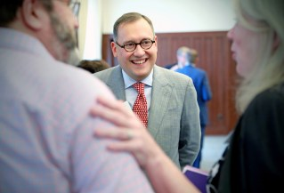 Andrew D. Martin meets with university leadership. (Photo: James Byard/Washington University)