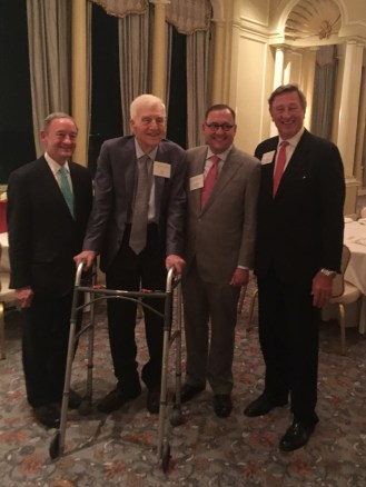 Chancellor Mark S. Wrighton (left), Chancellor Emeritus William H. Danforth, incoming Chancellor Andrew D. Martin and board chair Craig D. Schnuck gather for a photo.