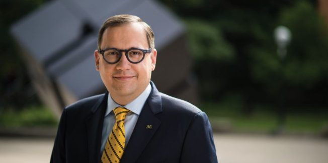 Martin in his maize and blue as dean of the College of Literature, Science, and the Arts at the University of Michigan. (Photo: University of Michigan)