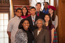 McLeod Scholars gather with Clara McLeod, widow of the late James E. McLeod, a longtime university leader for whom the scholarship was named as part of Opening Doors to the Future: The Scholarship Initiative for Washington University. (Photo: Sid Hastings/Washington University)