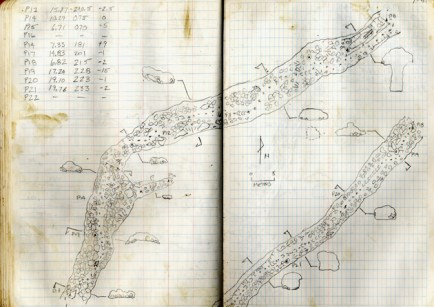 Addison's field notebook. To the upper left are station numbers. From station 13 to 14, the distance was 15.87 meters, the heading was 210.5 degrees and the elevation was -2.5 degrees. These measurements were used to make the plan view of the tube. The small ovals to the side of the plan view are cross sections of the tube. The keyhole cross section and ladder to the upper right was formed when the upper tube collapsed into a lower one. The dotted circle beneath an ellipsoidal cross section downstream of that point indicates that here the two tubes run in parallel. (Courtesy photo)