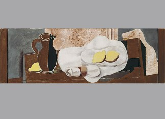 """Georges Braque, Lemons and Napkin Ring, 1928. Oil and graphite on canvas, 15 3/4 x 47 1/4"""". Acquired 1931, The Phillips Collection, Washington, D.C. © 2012 Artists Rights Society (ARS), New York / ADAGP, Paris."""