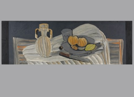 """Georges Braque, The Crystal Vase, 1929. Oil on canvas, 16 1/4 x 47 1/2"""". The Cleveland Museum of Art, Gift of Alexandre P. Rosenberg, 1975.82. Photo ©The Cleveland Museum of Art. © 2012 Artists Rights Society (ARS), New York / ADAGP, Paris."""