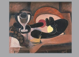 """Georges Braque, Still Life with Fruit Dish (verso), c. 1932‐33. [recto: Baluster and Skull, 1938.] Oil on canvas, 17 3/4 x 21 5/8"""". Private collection. © 2012 Artists Rights Society (ARS), New York / ADAGP, Paris."""