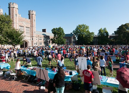 The student activities fair introduces students to the myriad clubs and groups that exist at Washington University. (Kevin Lowder)