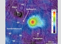The far side thorium anomaly is nestled between two ancient impact craters, Compton and Belkovich. (NASA/GSFC/ASU/WUSTL, processing by B. Jolliff)