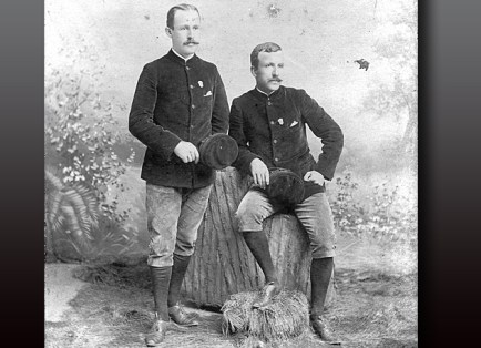 This unpublished studio portrait shows Allen (left) and Sachtleben in Washington, Penn., in May 1893, as they headed to New York City to complete their global circuit. (Courtesy of the Seaver Center for Western History Research, Los Angeles County Museum of Natural History)