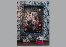 Ebony G. Patterson, Daadi + Yutez, 2010; Mixed media tapestry (wallpaper flowers, clothes, toys, ratchette), variable dimensions.