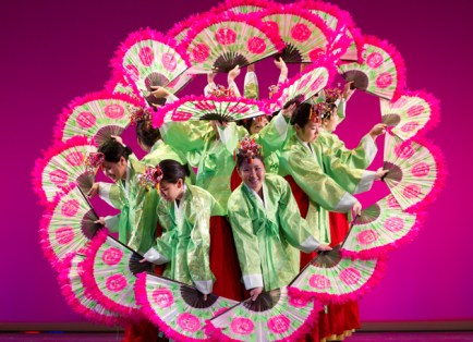The Lunar New Year Festival is an annual student-run production with performances ranging from the elaborate ribbon and lion dances to the graceful Korean fan dance (above). (Whitney Curtis)