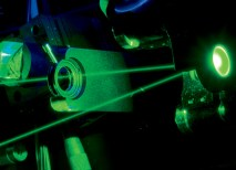 Researchers in the ­Photosynthetic Antenna ­Research Center (PARC) probe diverse natural and artificial photosynthetic antenna systems in the PARC Ultrafast Laser Facility in Brauer Hall. (Joe Angeles)