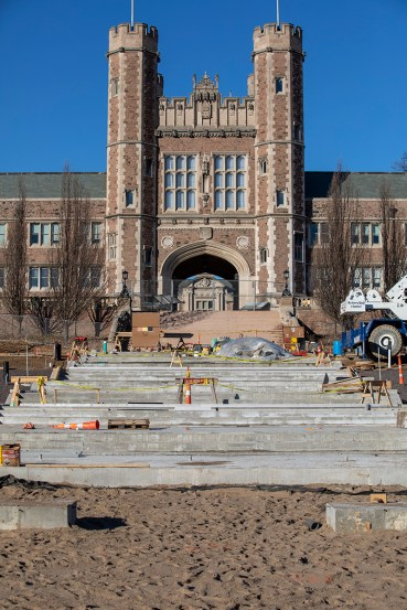 The concrete base for the new Brookings Hall stairway is shown on the east end job site. (Photo: Joe Angeles/Washington University)
