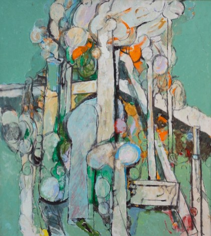 """Mondoverde,"" 1990. Oil on canvas, 49 x 44"". Estate of Arthur Osver and Ernestine Betsberg."
