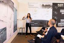 "Christina Batroni presents her design ""Inverted Expansion."" (Photo: Carol Green/Washington University)"