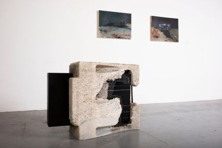 """Three works by Sara Ghazi Asadollahi. From left: """"Silence,"""" cement, Plexiglas and LED light; and """"Crevice"""" and """"Niche,"""" both oil on canvas, all 2019."""