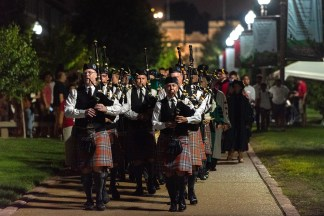 bagpipers play on campus