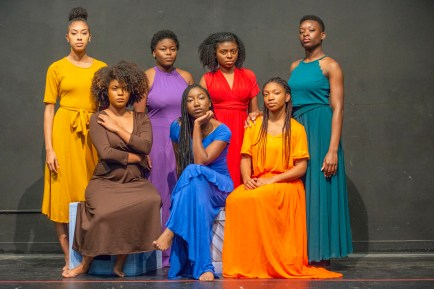 "The cast of Ntozake Shange's ""for colored girls who have considered suicide/when the rainbow is enuf."" (Photo: Danny Reise/Washington University)"