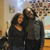 """Faronbi (left), with roommate Belai, says she likes the atmosphere of the South 40. """"I like how we have our own little village here with the twinkling lights and outdoor seating outside the Bear's Den. There's a great sense of community."""""""