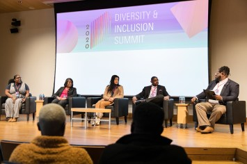 The Diversity & Inclusion Summit, hosted by Olin Business School fraternities, took place Feb. 7. The keynote panel included (from left) Dasha Kennedy, of the Broke Black Girl, Valerie Patton, of the St. Louis Diversity & Inclusion Initiative, Diana Zeng a 2014 Olin alumna, and artist and activist Damion Jones, who works at Bayer. (Photo: Molly Cruitt)