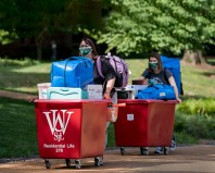 Students move into residential housing on the South 40 in fall 2019. (Photo: Whitney Curtis/Washington University)