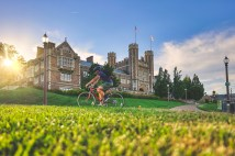 bicyclist on campus