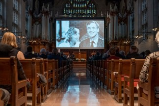 A photo of Ibby and William Danforth is displayed during the Danforth memorial service Oct. 2 in Graham Chapel. Read a recap of the service. (Photo: Whitney Curtis/Washington University)