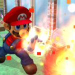 Mario throws a Fireball. His glove's on fire!