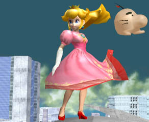 On the Great Fox, Peach's hair and skirt flutters in the wind.