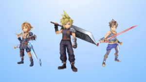 Cloud and two nobodies in Final Fantasy Explorer