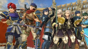 Earth, Roy, Ike, Robin, Robin, Lucina, and Lyn