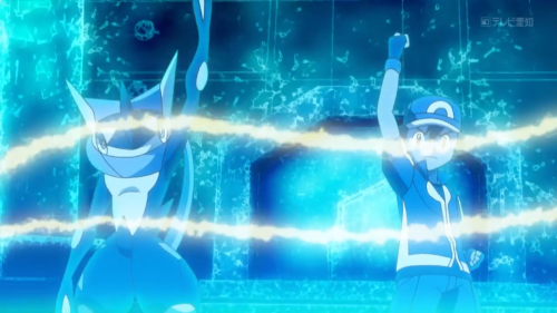 Ash and Greninja about to Battle Bond in Pokemon XY