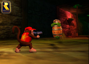 His guns looked a little different in an earlier build of 64, didn't they? (Image: Nintendo)