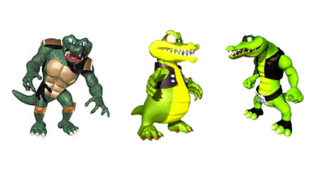 For reference, here's Krunch sandwiched between Donkey Kong Country's and 64's Kritters. Krunch's design was tweaked in Diddy Kong Racing DS, further distinguishing him with extra digits. (Images: Nintendo)