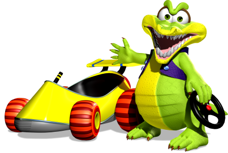 Krunch and his car in Diddy Kong Racing DS (Image: Nintendo)