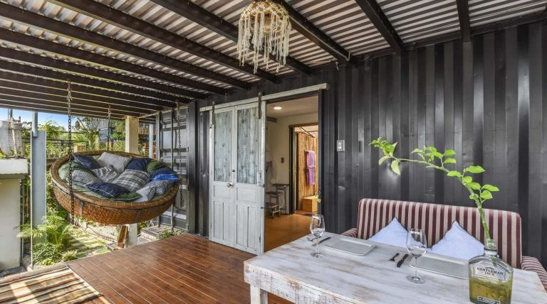 outside terrace in accommodation made from recycled shipping containers