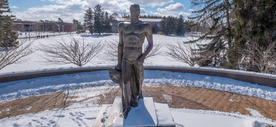 Sparty statue on a winter afternoon