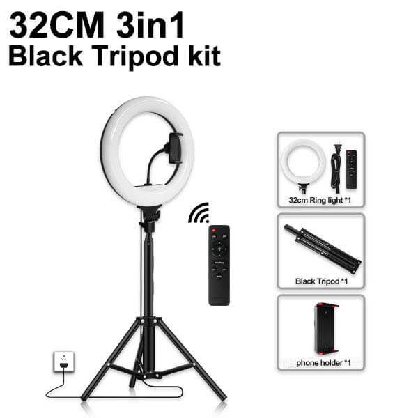 LED Live Stream Ring Light 32cm with Stand & Remote Control SOP